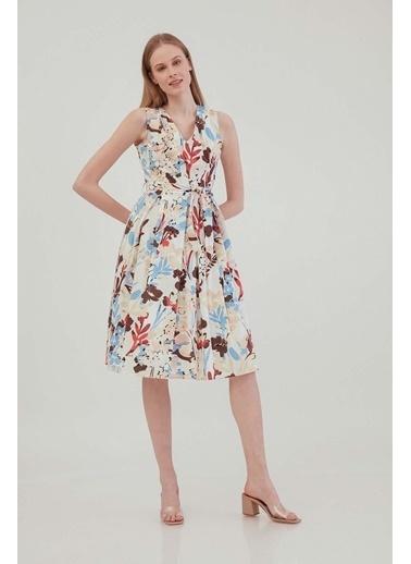 Vitrin VİTRİN V Yaka Sıfır Kol Çiçek Desen Elbise Ekru